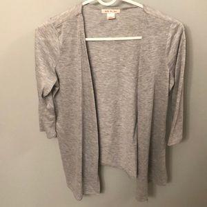 Tops - Silver Quarter Sleeve Thin Cardigan